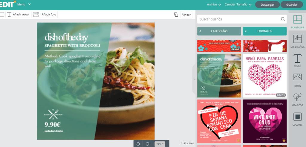 Edit.org; el programa online de diseño gráfico para restaurantes. 1