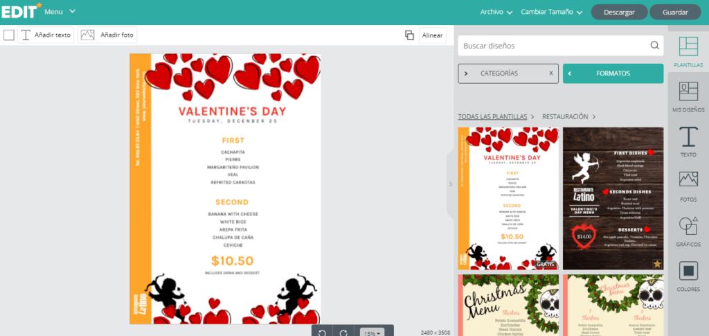 Edit.org; el programa online de diseño gráfico para restaurantes. 7