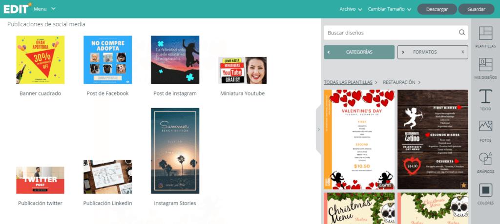 Edit.org; el programa online de diseño gráfico para restaurantes. 8